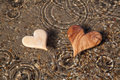 Two wooden hearts shape in the nature for greeting card love romantic Stock Photo