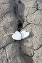 Two wooden love hearts on the sand bank banks of an irish beach in county kerry Royalty Free Stock Photography