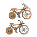 Two wooden retro bicycles, decor animal skull