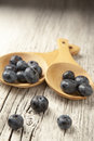 Two wooden spoons with fresh blueberries, white washed background. Royalty Free Stock Photo