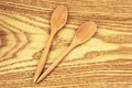 Two wooden spoons on table Royalty Free Stock Image