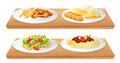 Two wooden trays with four plates full of foods illustration the on a white background Stock Image