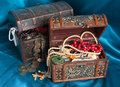 Two wooden treasure chests Stock Images