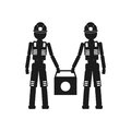 Two workers holding a bag Vector black icon on white background.