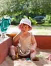 Two year child playing sandbox Royalty Free Stock Images