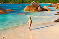 Two year old boy playing on beach baby at seychelles Stock Images