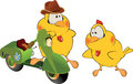 Two yellow chickens green moped Royalty Free Stock Images