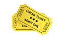 Two yellow cinema tickets on a white background Royalty Free Stock Images
