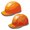 Two yellow safety hard hat on a white background