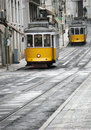 Two yellow trams Royalty Free Stock Image