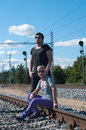 Two young attractive guy on rails Royalty Free Stock Photo