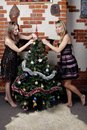 Two young beautiful girls decorate christmas tree Stock Photography