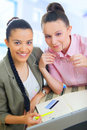 Two young businesswomen working Royalty Free Stock Photo