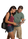 Two young Casual Dressed College Student Isolated Royalty Free Stock Photo