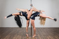 Two young flexible dancer doing difficult acrobatic tricks