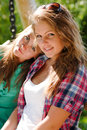 Two young girl friends Stock Images