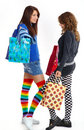 Two young girl out shopping Royalty Free Stock Photo