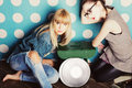 Two young girls with vinyl records Royalty Free Stock Photo