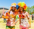 Two young guys having fun at The Color Run 5km Marathon, Bright