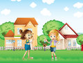 Two young ladies playing in the ground in front of the houses illustration Stock Photo