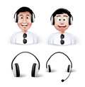 Two young man happy enjoying listening music in headphones or headset with head set and headphone isolated in white background Stock Photography