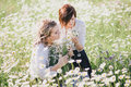 Two young pretty women posing in a chamomile field Royalty Free Stock Photo