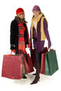 Two young shopping women Royalty Free Stock Image