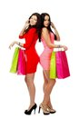 Two young shopping women talking by phone with bag Stock Photos