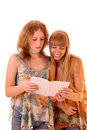 Two young woman reading book isolated Stock Photo