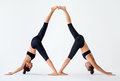 Two young women doing partner yoga asana downward facing dog Royalty Free Stock Photo