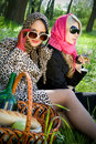 Two young women on a picnic in summer park Stock Photography