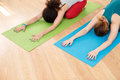 stock image of  Two young women practicing yoga on mat in class closeup