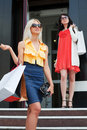 Two young women shopping. Royalty Free Stock Photography