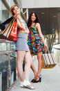 Two young women shopping bags against mall windows Stock Images
