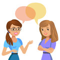 Two young women talking. Meeting colleagues or friends. Vector