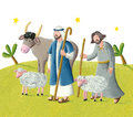 Twos hepherds acrylic illustration of two shepherds Royalty Free Stock Photos