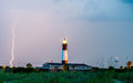 Tybee Island Light with storm approaching Royalty Free Stock Photo