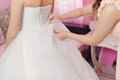 Tying bow bridesmaid on wedding dress Royalty Free Stock Photography