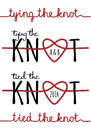 Tying the knot vector set rope heart for wedding invitation of design elements Royalty Free Stock Image