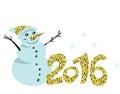Tylish golden glitter greeting card background. Happy new 2016 year! Royalty Free Stock Photo