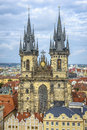 Tyn church in prague czech republic Stock Image