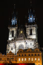 Tyn church in prague czech republic at night Royalty Free Stock Images