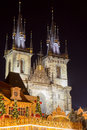 Tyn church in prague at night during the christmas season Stock Photo