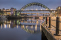 Tyne bridges from newcastle quayside the bridge the high level swing and metro Royalty Free Stock Images