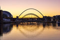 Tyne bridges and sage gateshead at sundown Royalty Free Stock Images
