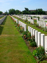 Tyne cot ww cemetery with gravestones Royalty Free Stock Photography