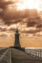 Tynemouth lighthouse newcastle upon tyne england Royalty Free Stock Photo