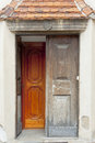 Tyniec -  Benedictine monastery. Wooden door. Royalty Free Stock Image