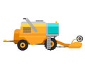 Type of agricultural yellow vehicle or harvester machine combine and icon with accessories for plowing mowing, planting