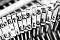Type bars of typewriter with some type bars unfocused Royalty Free Stock Photo